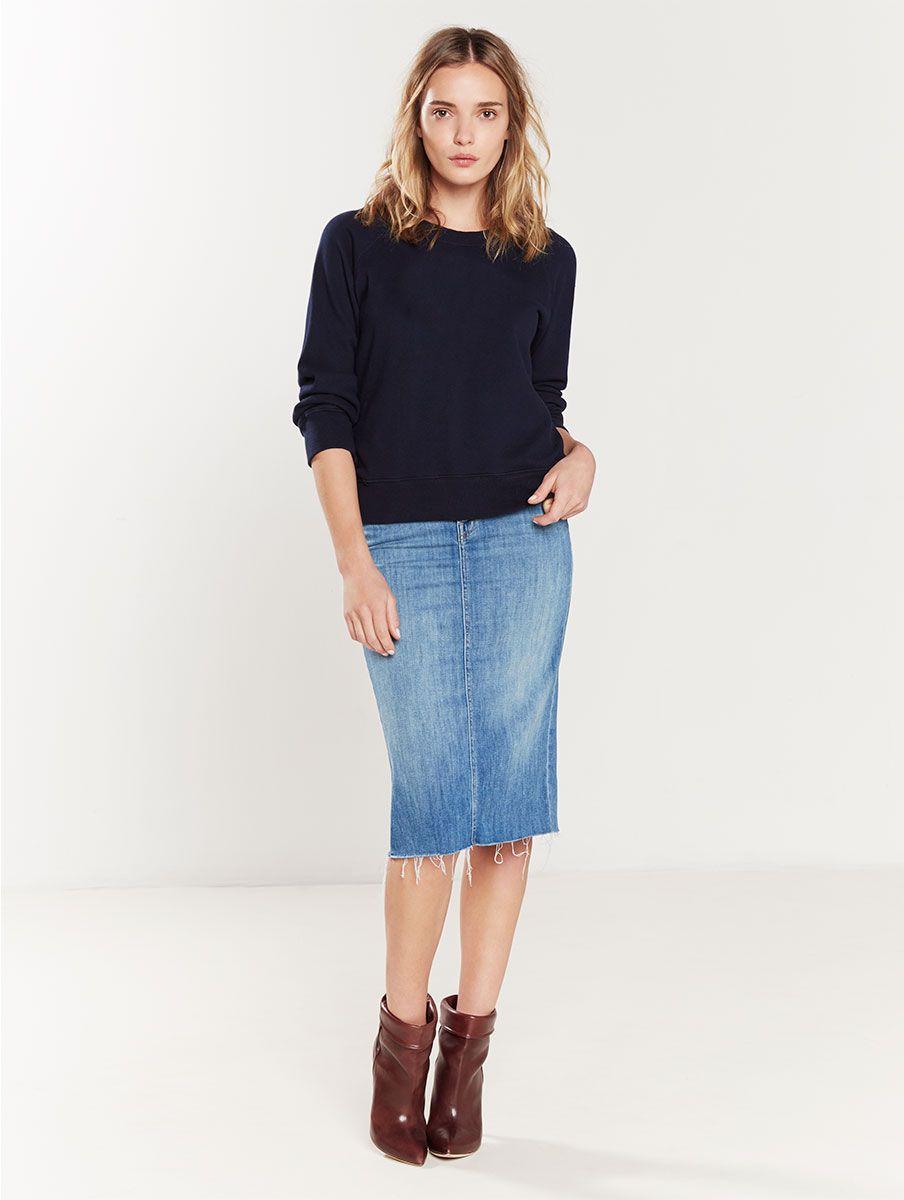 MOTHER®| The Back Slit Midi Skirt - SKIRTS/DRESSES