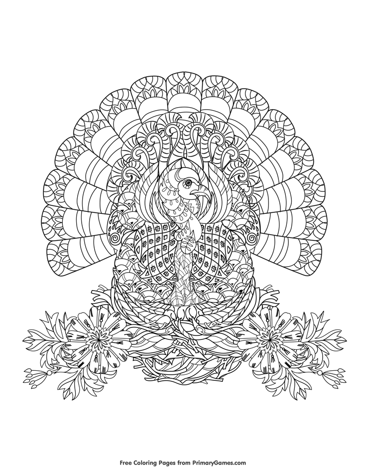 Turkey Zentangle Coloring Page • FREE Printable eBook