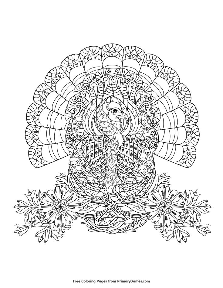 Turkey Zentangle Coloring Page • FREE Printable eBook