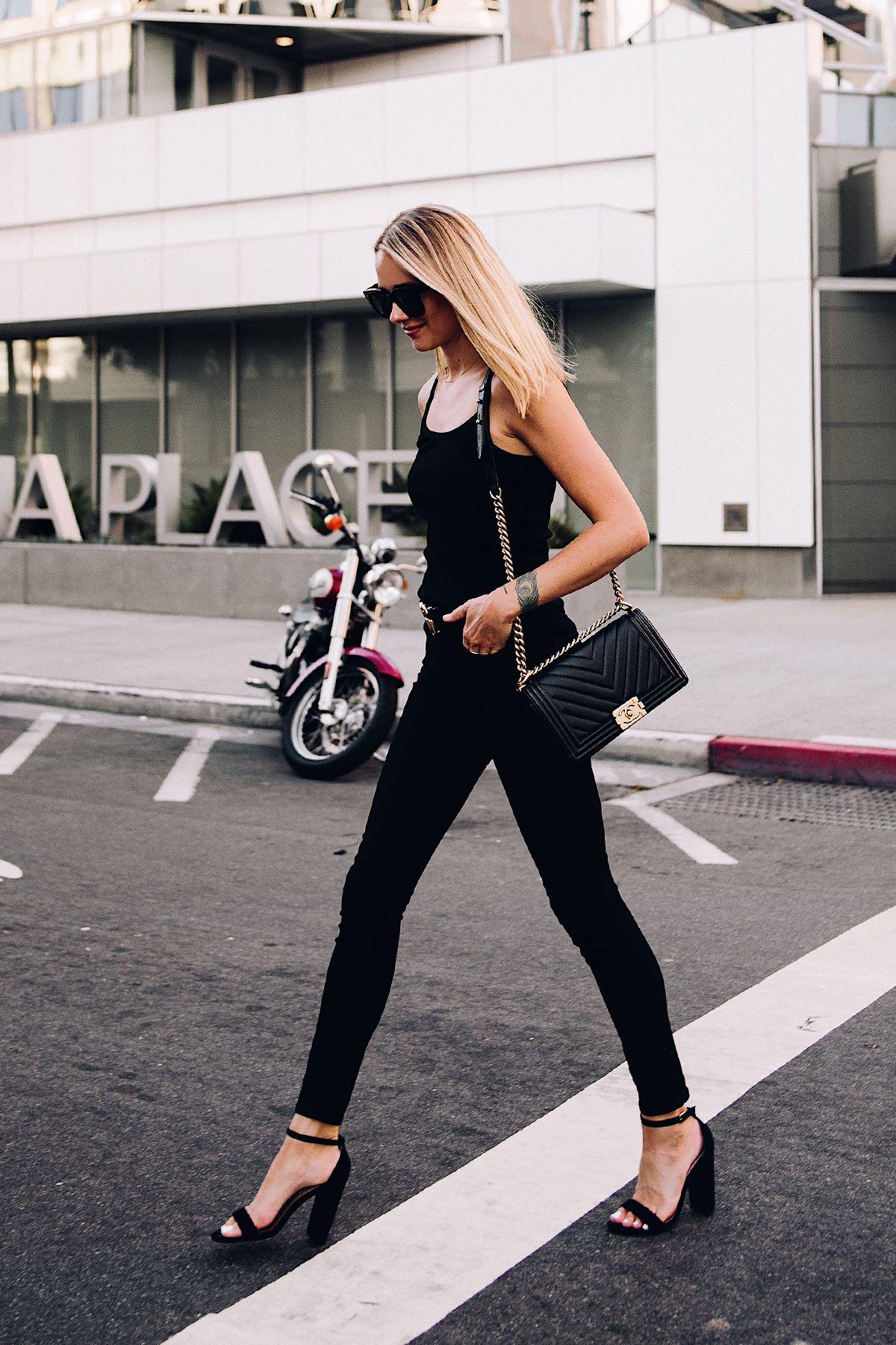 b6145e671ea8 Blonde Woman Wearing Topshop Black Tank Black Skinny Jeans Black Ankle  Strap Heeled Sandals Chanel Boy Bag BlackFashion Jackson San Diego Blogger  Fashion ...