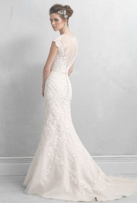 Brides: Madison James. This lace gown blends the vintage look of an ...