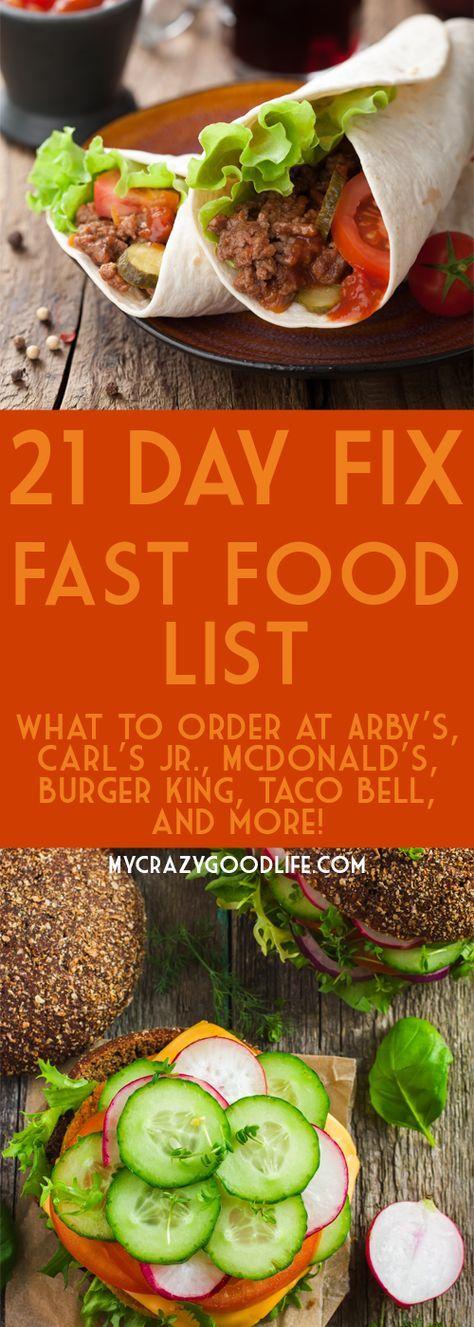21 Day Fix Fast Food List Fast food list, Beachbody 21
