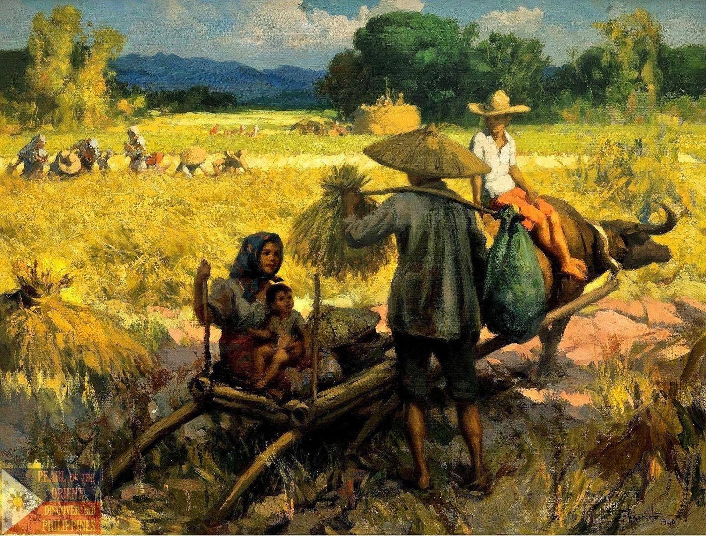 harvesting rice Seni murni, Lukisan, Ilustrasi