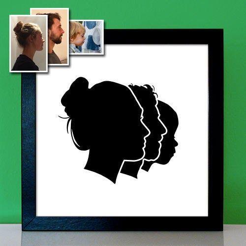 Familienportrait - Scherenschnitt klassisch - Personalisiertes Geschenk Geburtstagsgeschenk Weihnachtsgeschenk #personalisiertegeschenke