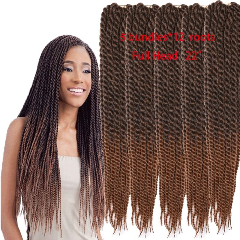 5pc 22inch Ombre Brown Synthetic Havana Mambo Twist Crochet Braid