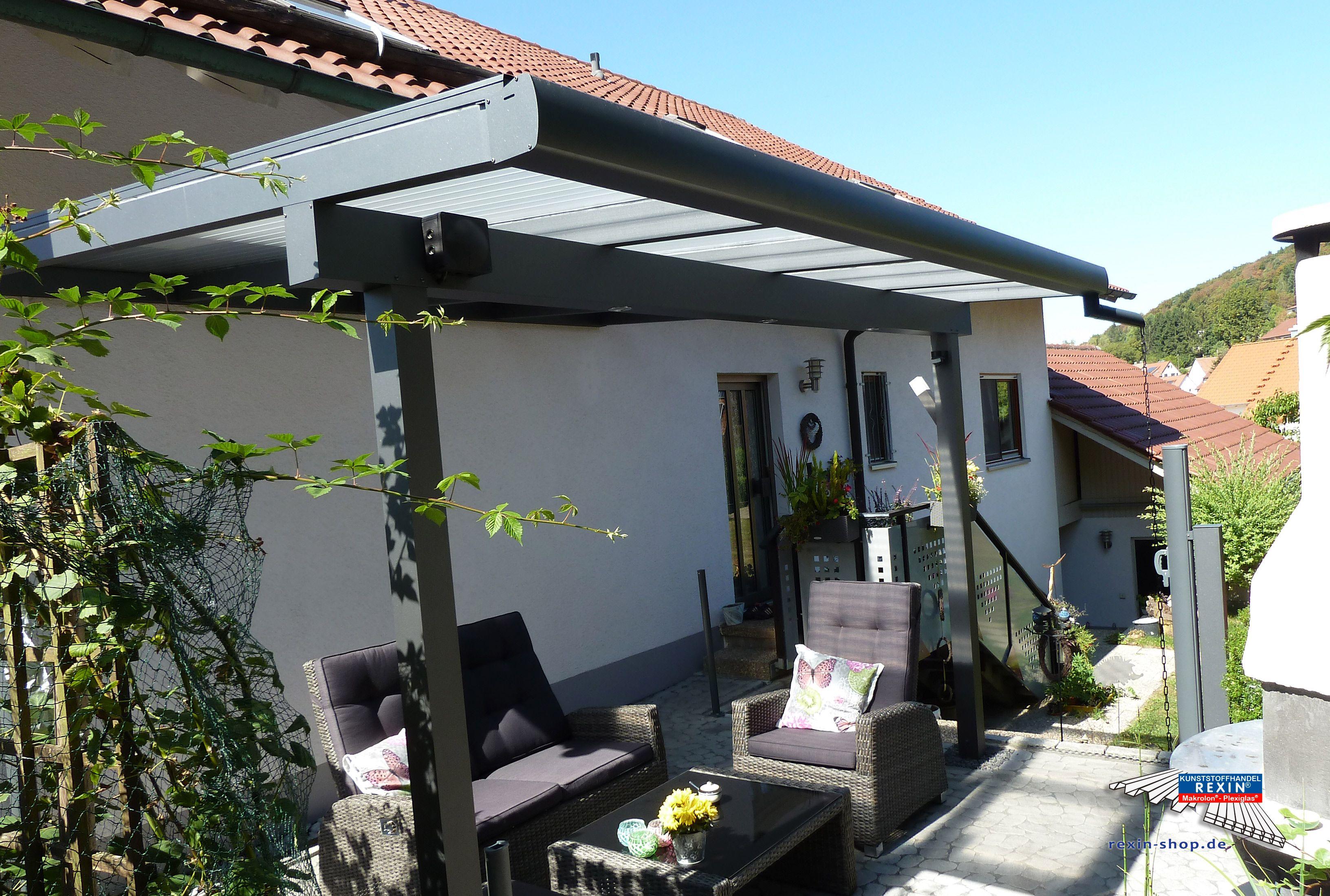 Nice Ein Alu Terrassendach der Marke REXOclassic m x m in Anthrazit mit Plexiglas