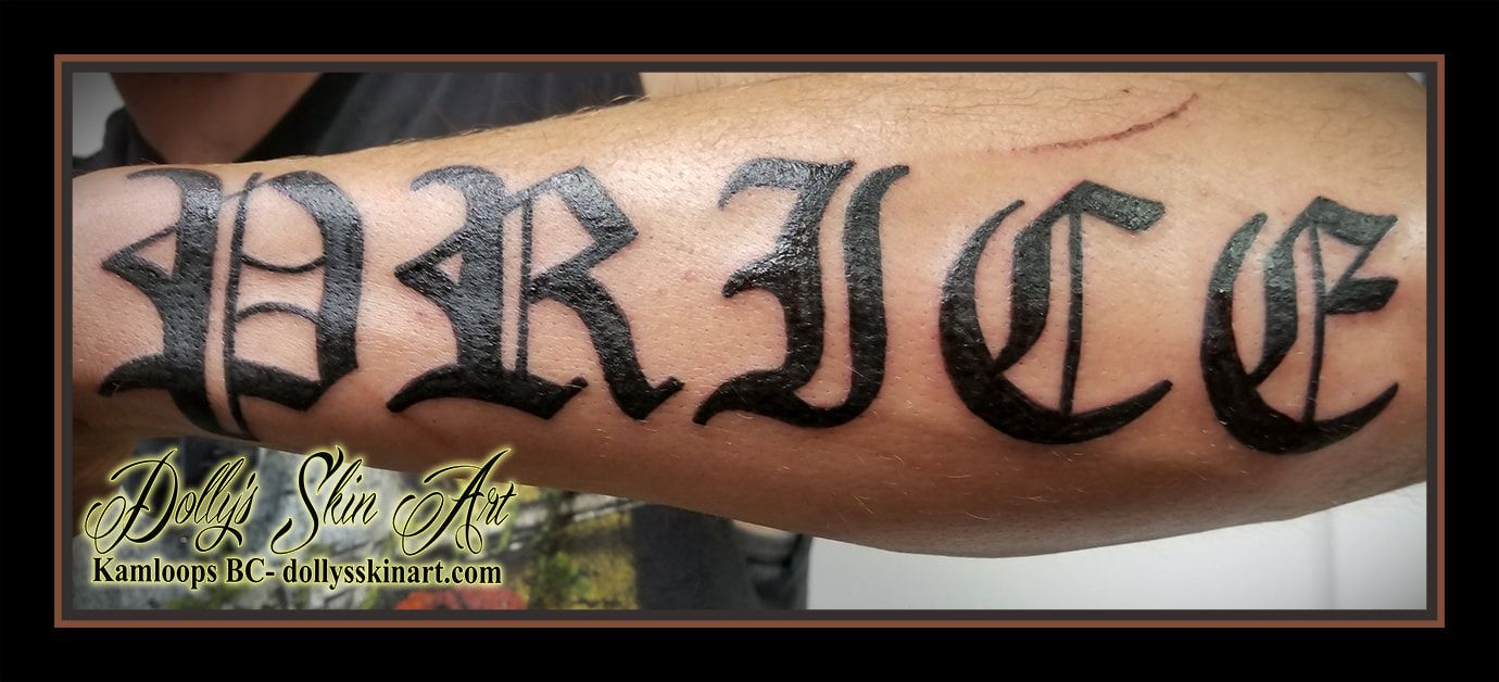 323bd5cee380d price last name font lettering old english forearm tattoo kamloops dolly's  skin art