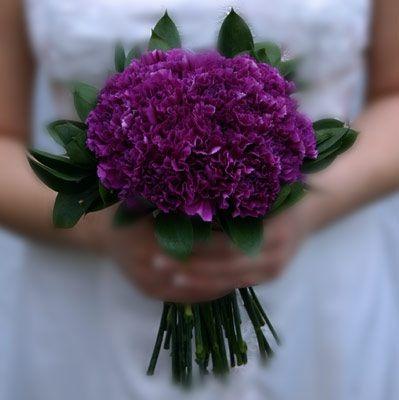 Purple Carnation Bridesmaids Bouquet