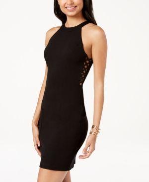 Emerald Sundae Juniors' Lattice Side Bodycon Dress Black