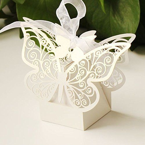 50pcs Laser Cut Butterfly Wedding Favour Box Birthday Party Gifts Candy Boxes Bomboniere by dreammadestudio: Amazon.it: Casa e cucina