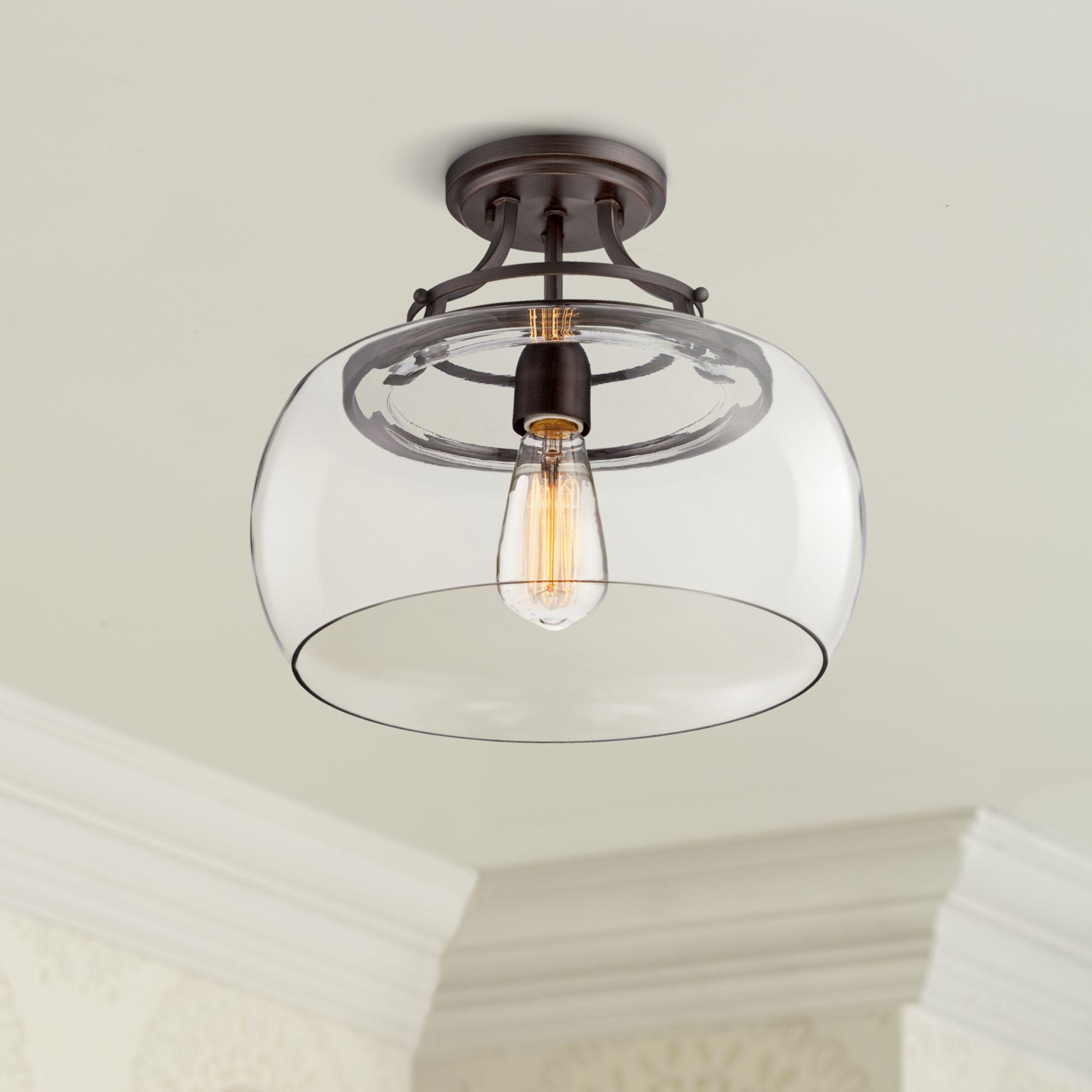 Wrought Iron Wire Cage Semi Flush Mount Light In Black For Kitchen