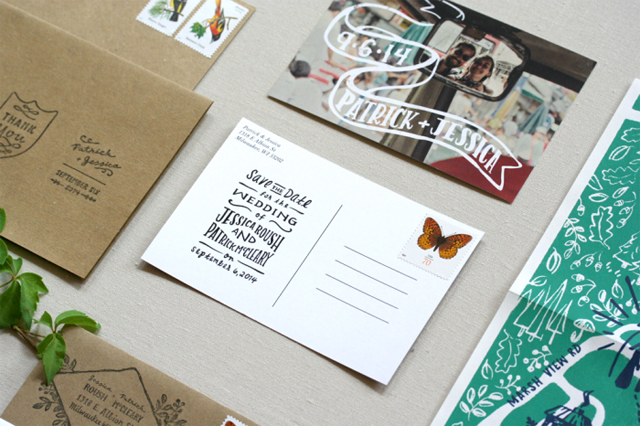 Camp-Theme Foldout Wedding Invitations by Jessica Roush / Oh So Beautiful Paper