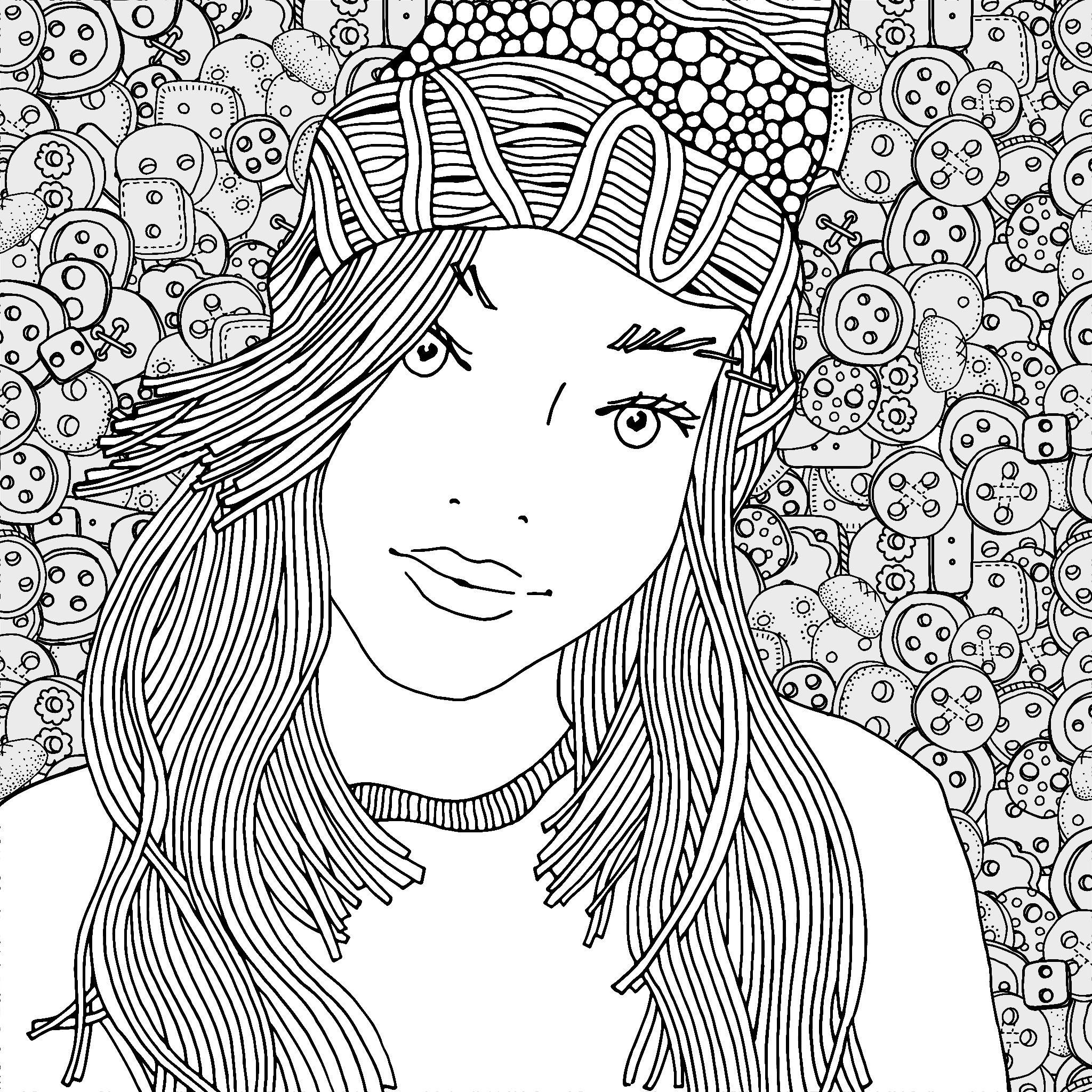 Adult Coloring Woman çizimler