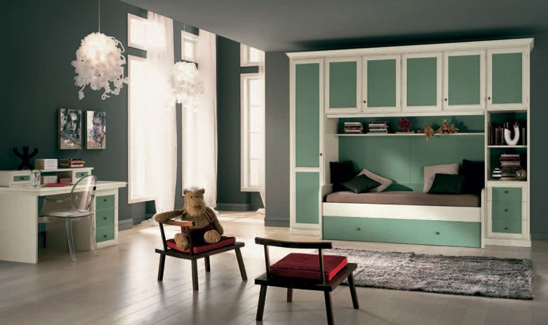 10x13 Girl Room Furniture Classic Girls Room With Green Furniture Design Greenish Grey Room Girls Room Design Bedroom Design Room Design