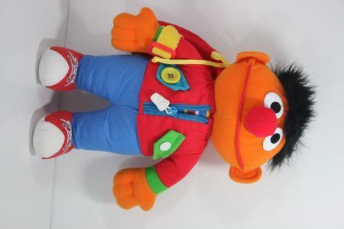 Vintage-1990s-Sesame-Street-Muppet-DRESS-ME-UP-Ernie-Snap-Button-Zip-Tie-Etc