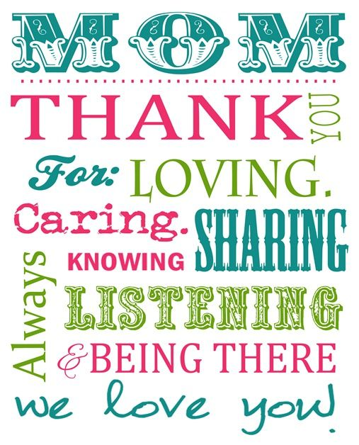 Free Mothers Day Subway Art Printable Perfect for making into a – Free Printable Mother Birthday Cards