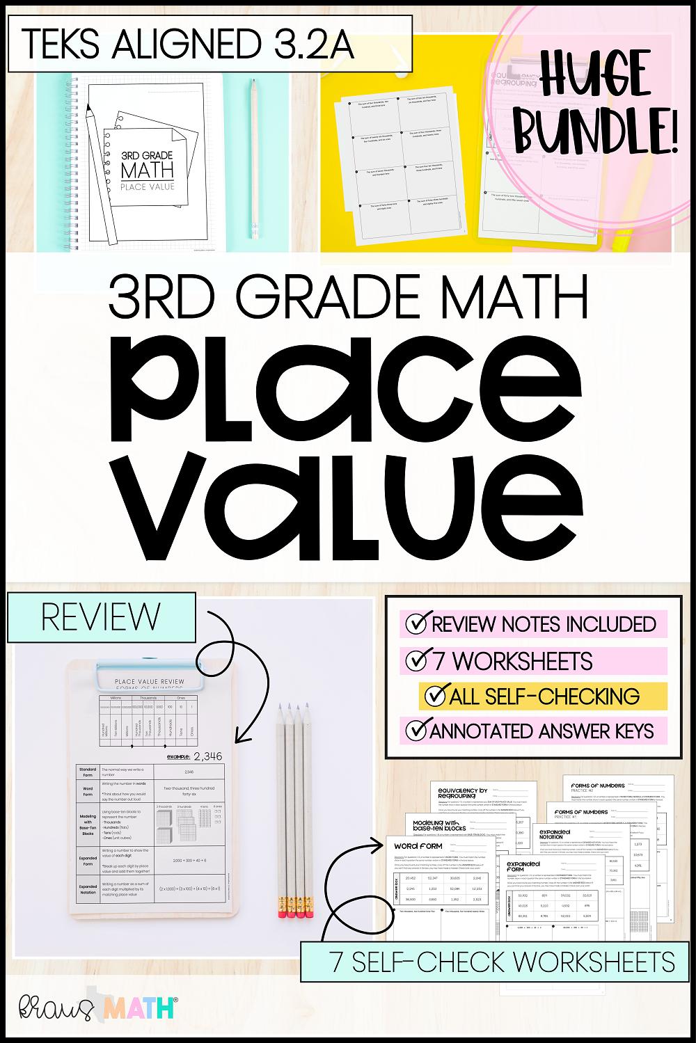 3rd Grade Math Packet #1   Place Value   Kraus Math   Math packets [ 1499 x 1000 Pixel ]