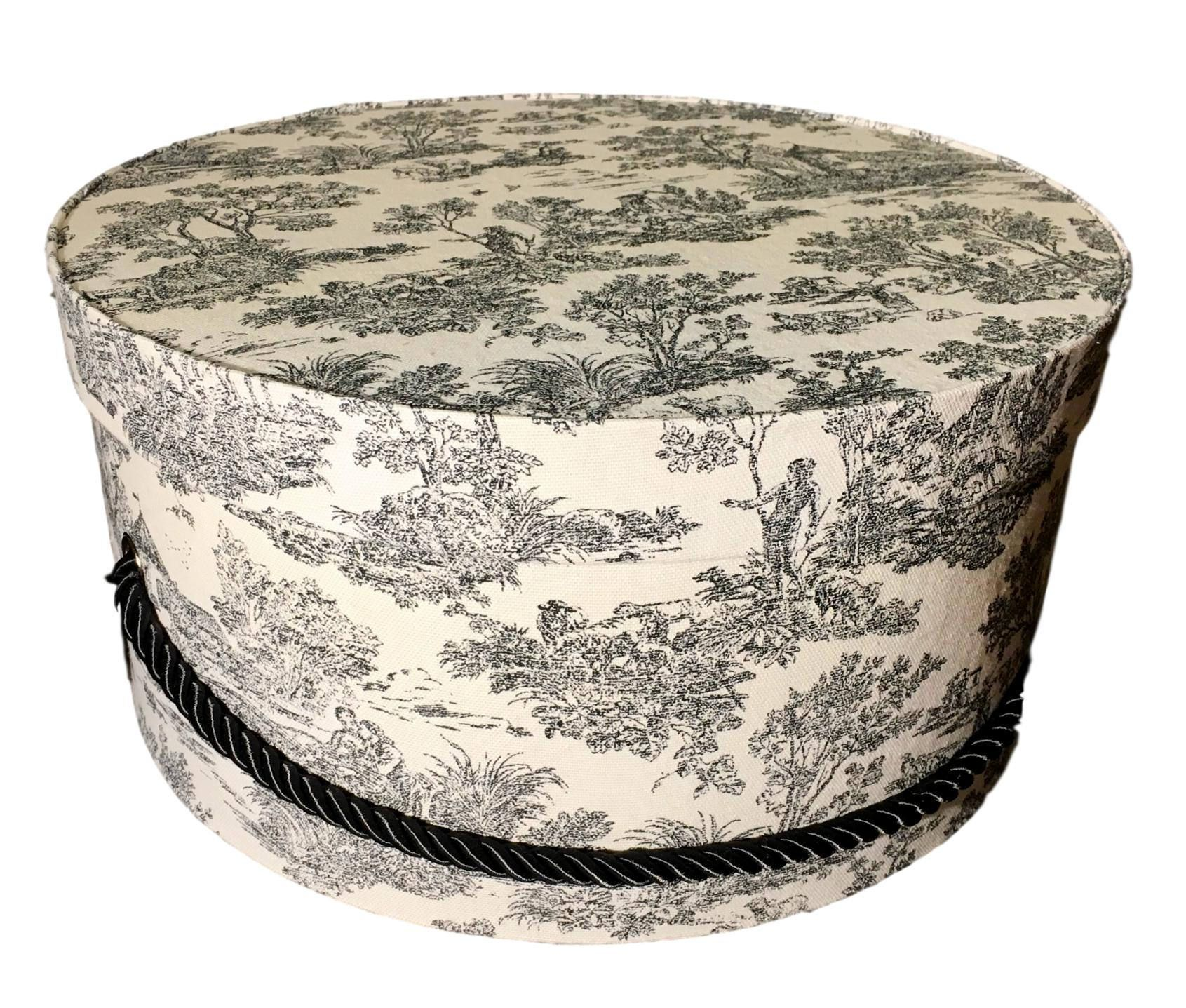 Hat Box In French Black And White Toile Large Decorative Fabric Covered Hat Boxes Round Storage Box Keepsake Boxe Hat Boxes Black Toile Fabric Covered Boxes