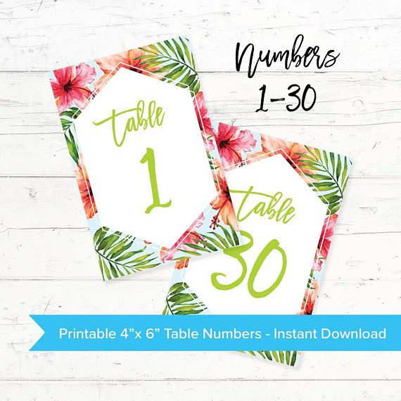 Tropical Hawaiian Printable Table Number Cards Wedding by