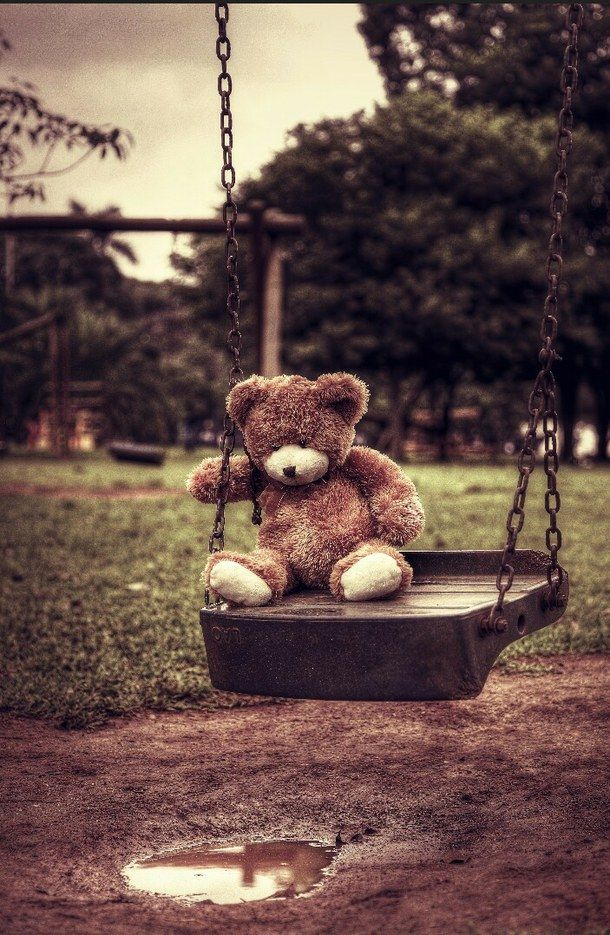 alone, bear, beautiful, brown, cute, dark, love, sad, swing, teddy bear, teedy bear