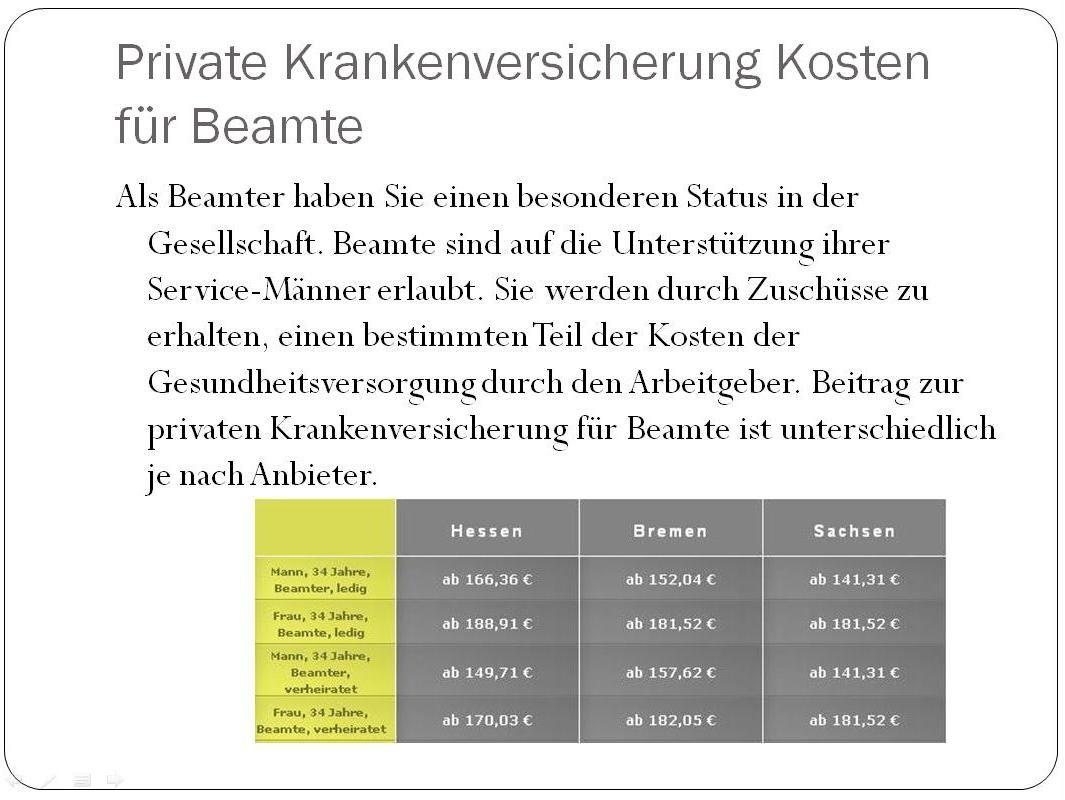 Pkv Kosten Fur Beamte Krankenversicherung Deutschland Pinterest