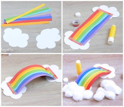 Nube de arco iris 3d manualidades infantiles con papel - Manualidades para ninos con papel ...