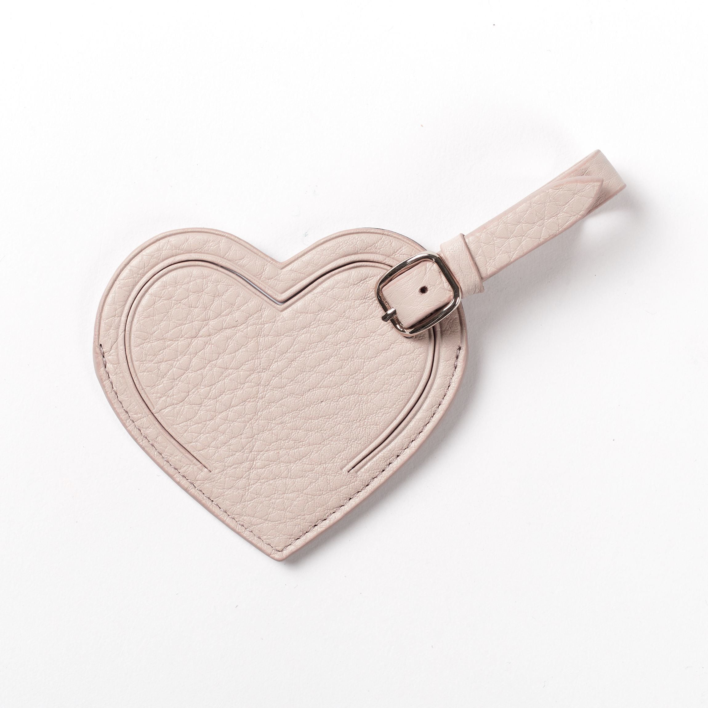 e4b497eee6da Small Heart Luggage Tag - Full Grain Leather - Stone (gray ...