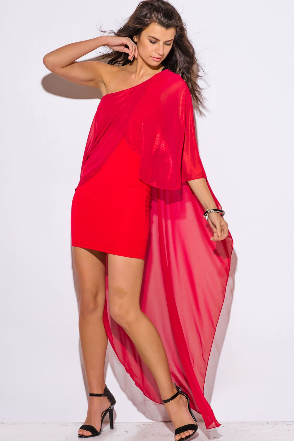 WE FELL IN LOVE | red metallic chiffon cape one shoulder cocktail ...