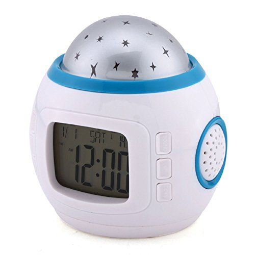 Colors LED Changing Star Night Light Magic Projector Backlight Clock,Moon and Stars Projection Alarm Clock for Children