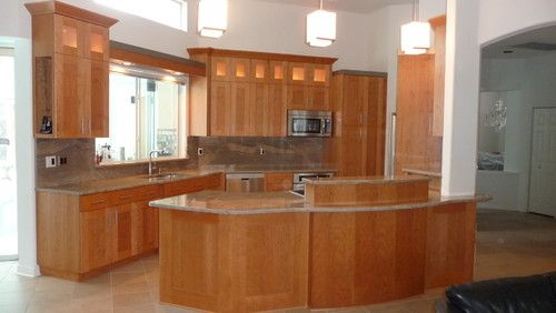 Best Really Like This Combo Natural Cherry Cabinets With Gray 400 x 300