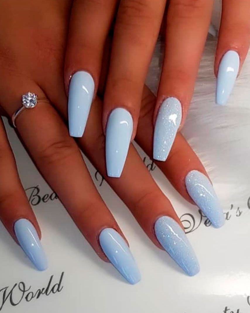 Baby Blue Nails Coffin With Glitter - Nail and Manicure Trends