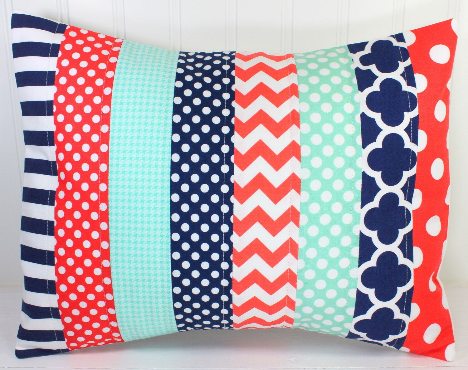 Pillow Cover, Unisex Nursery Decor, Patchwork Pillow Cover, Crib Bedding, 12 x 16 Inches, Navy Blue, Tiffany Blue, Mint Green, Coral by theredpistachio on Etsy https://www.etsy.com/listing/192404701/pillow-cover-unisex-nursery-decor