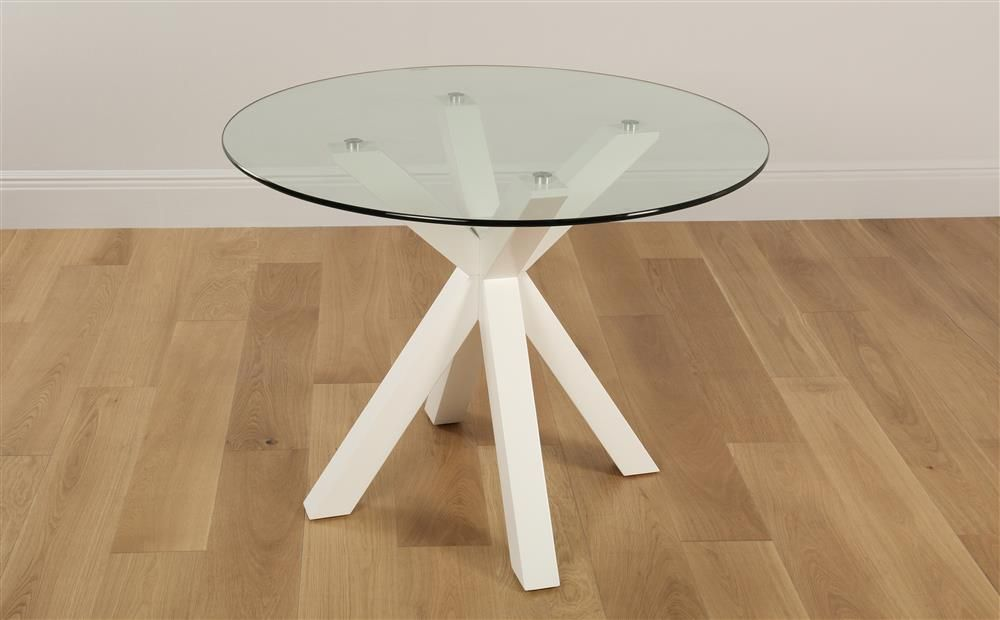 Hatton Round White Wood And Glass Dining Table 100cm Only 279 99 Furniture Choice Furniture Choice Glass Dining Table Dining Table
