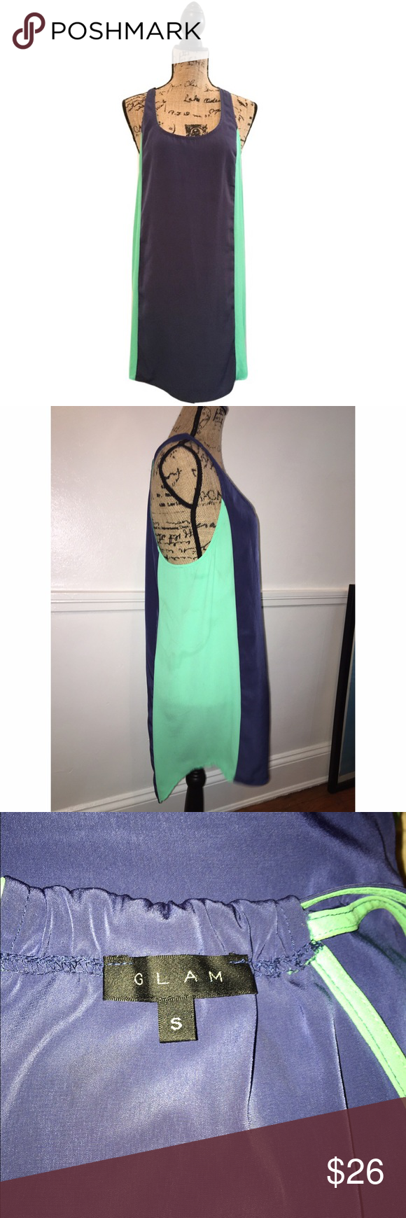 "GLAM Sz S Color Block Sleeveless Dress EUC 🔸GLAM Sz S Color Block Sleeveless Dress EUC🔸Size S🔸 Green navy blue colors🔸Racer back🔸Sleeveless🔸Polyester🔸Round neck🔸Bust 32-34🔸Length 35""🔸Pre owned EUC no rips, stains or holes! GLAM Dresses"