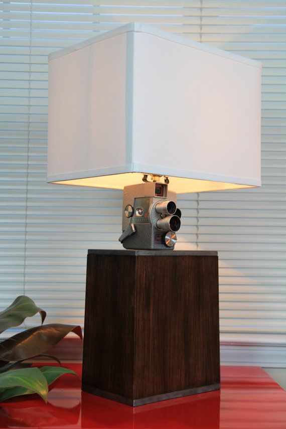 Handcrafted unique vintage movie camera table lamp. by wingspans