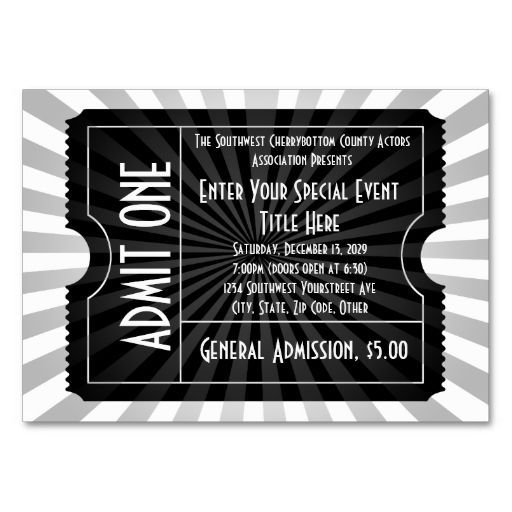 black white event ticket lg business card size black and white