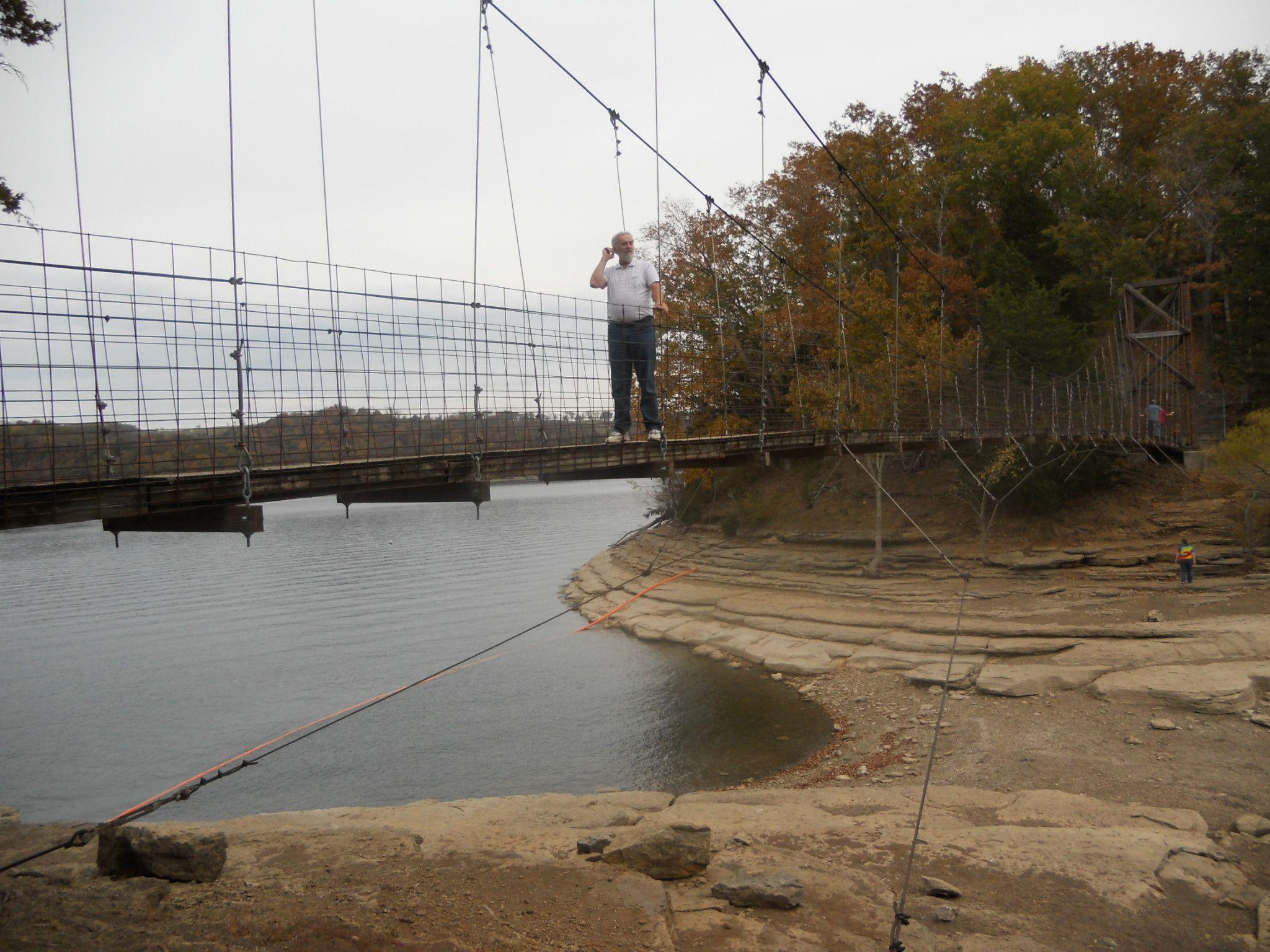 The swinging bridge at dale hallow lake near celina tn