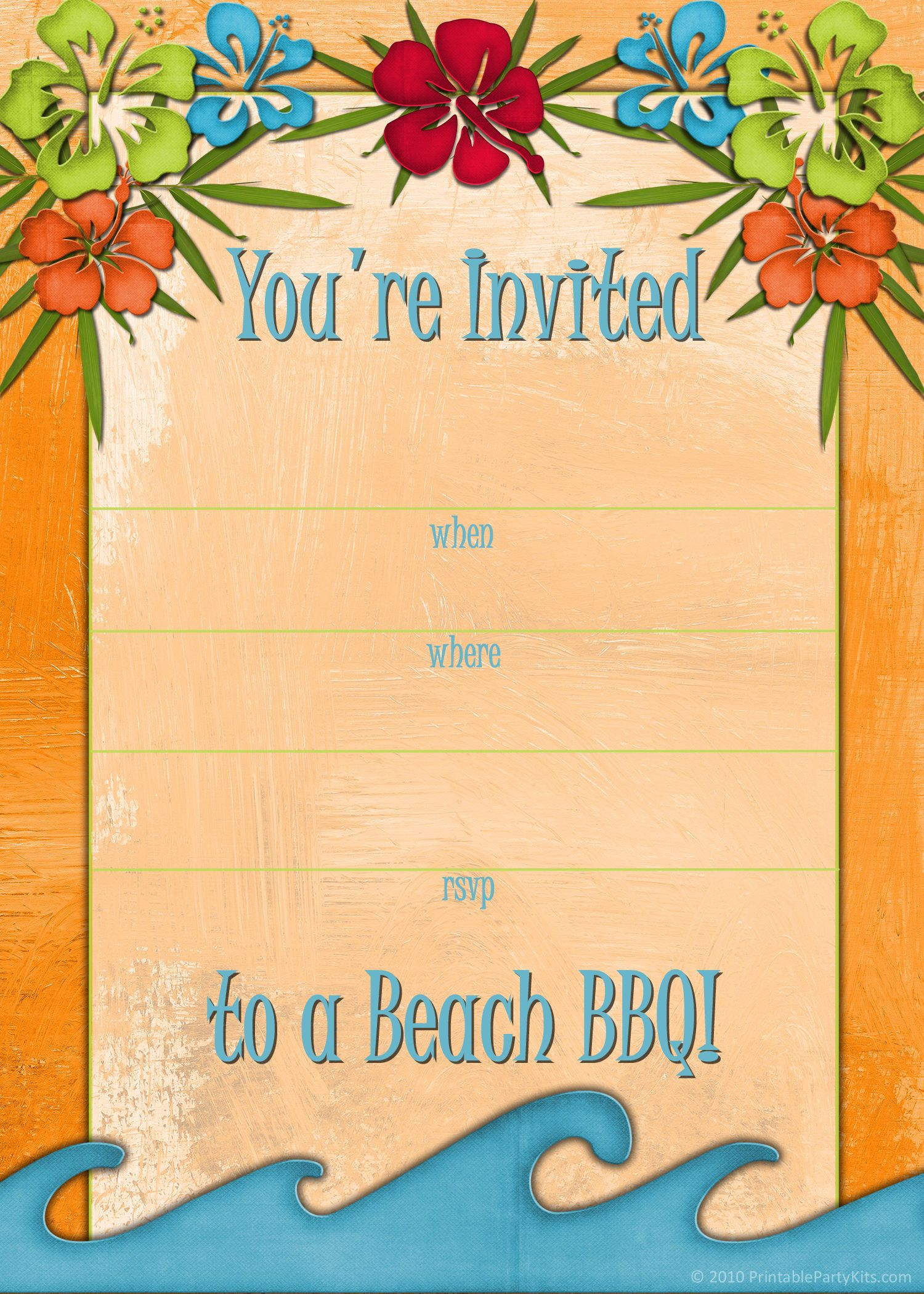 Free Printable Beach Party Luau And BBQ Invitations Templates