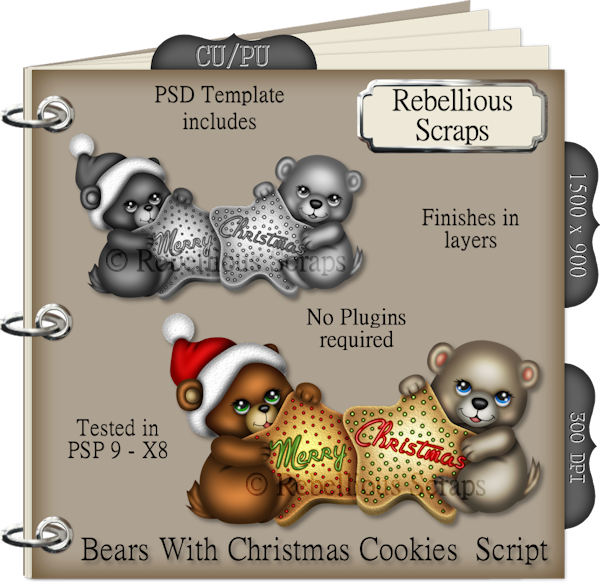 Bears With Christmas Cookies Script : Scrap and Tubes Store, Digital Scrapbooking Supplies