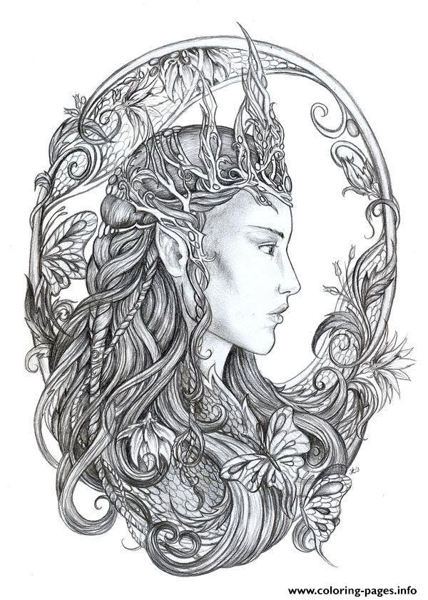 Print Hd Difficult Fairie Adult Coloring Pages