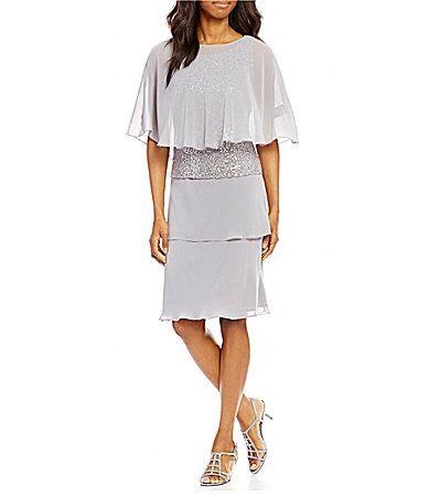 166cee74115 SL Fashions Lace Tiered Chiffon Capelet Dress  Dillards
