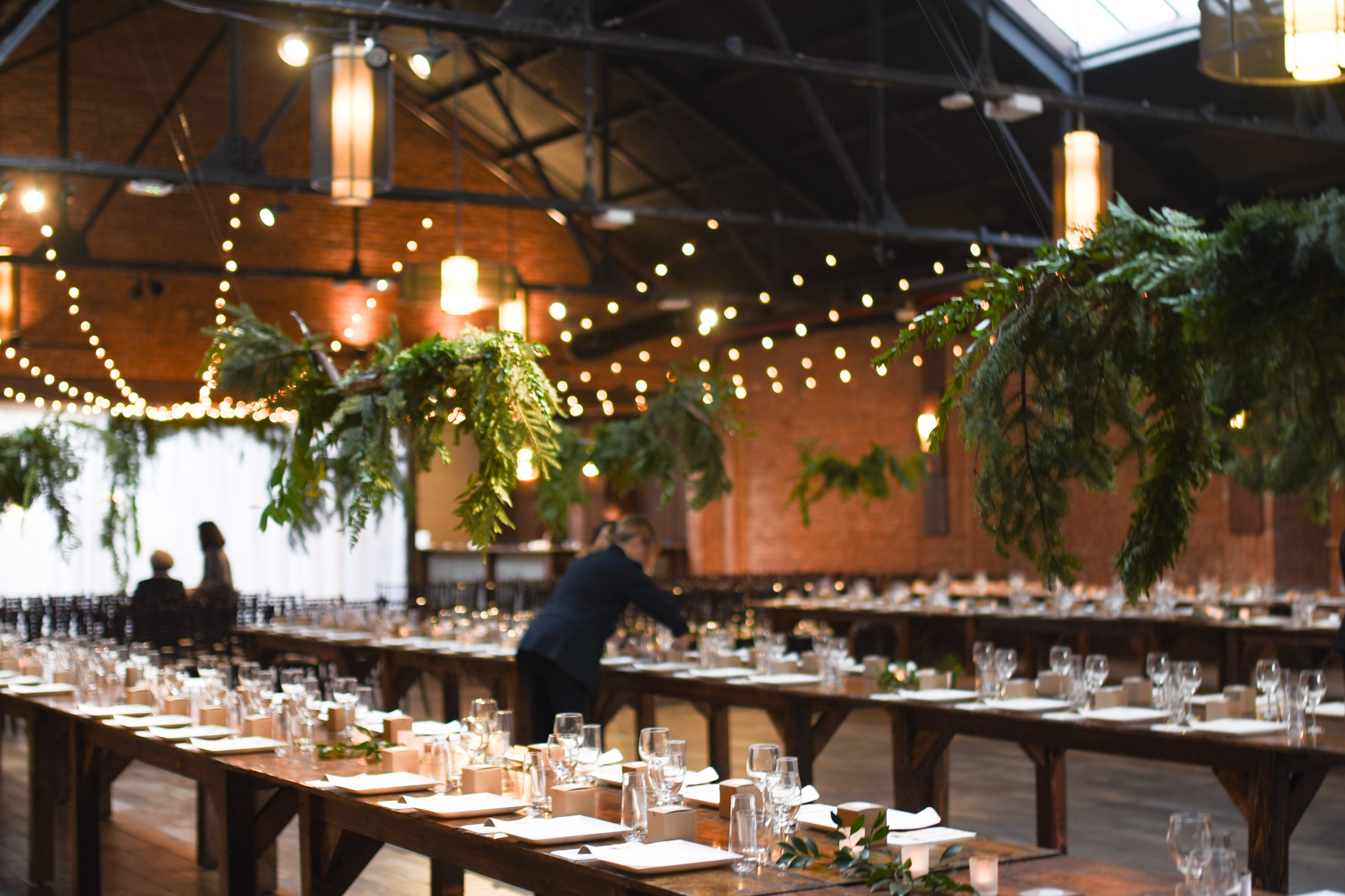 Hanging greenery for jenny at 26 bride in brooklyn