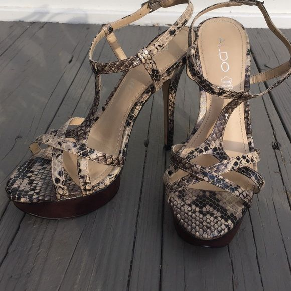 Python strapy ALDO platform high heels obsessed with these!!! Make me an offer! Only worn twice and in GREAT condition! ALDO Shoes Heels