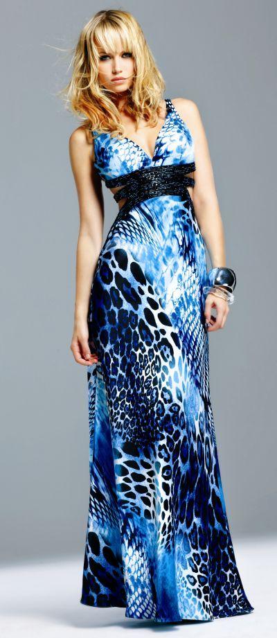 Faviana Blue Animal Print Evening Dress 6521 at frenchnovelty.com ...