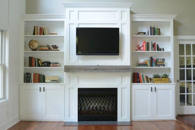 Wonderful White Wood Luxury Design Livingroom White Cabinet  Book Racks Wallmount Tv Fireplace Stainless Grip Storage Furniture At Home  Livingroom With Make  ...