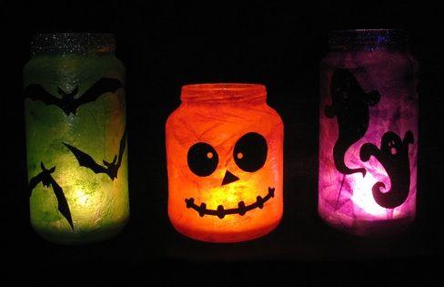 Lamparas caseras de Halloween con frascos de vidrio Mujer Hogar y - Lamparas Caseras