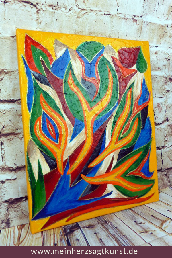 Acrylbild Mit Bunten Flammen Idee Zum Malen Acrylbilder