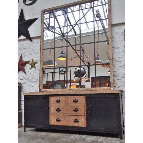 Enfilade industrielle métal et bois 4 tiroirs Atelier, Lofts and