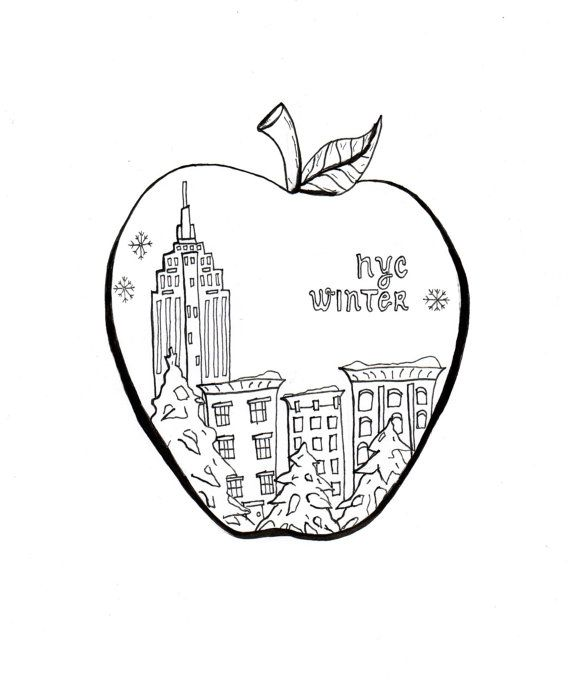 NYC Coloring Art, Big Apple, Print and Color, Instant