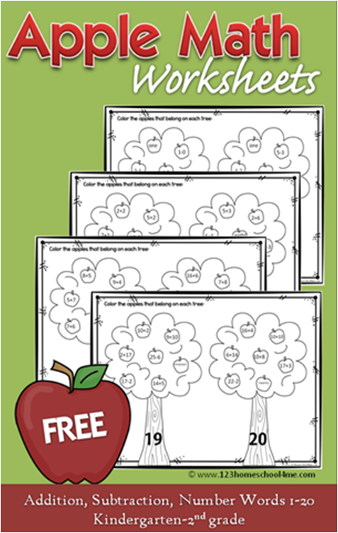 Free Apple Math Worksheets Fall Crafts And Activities